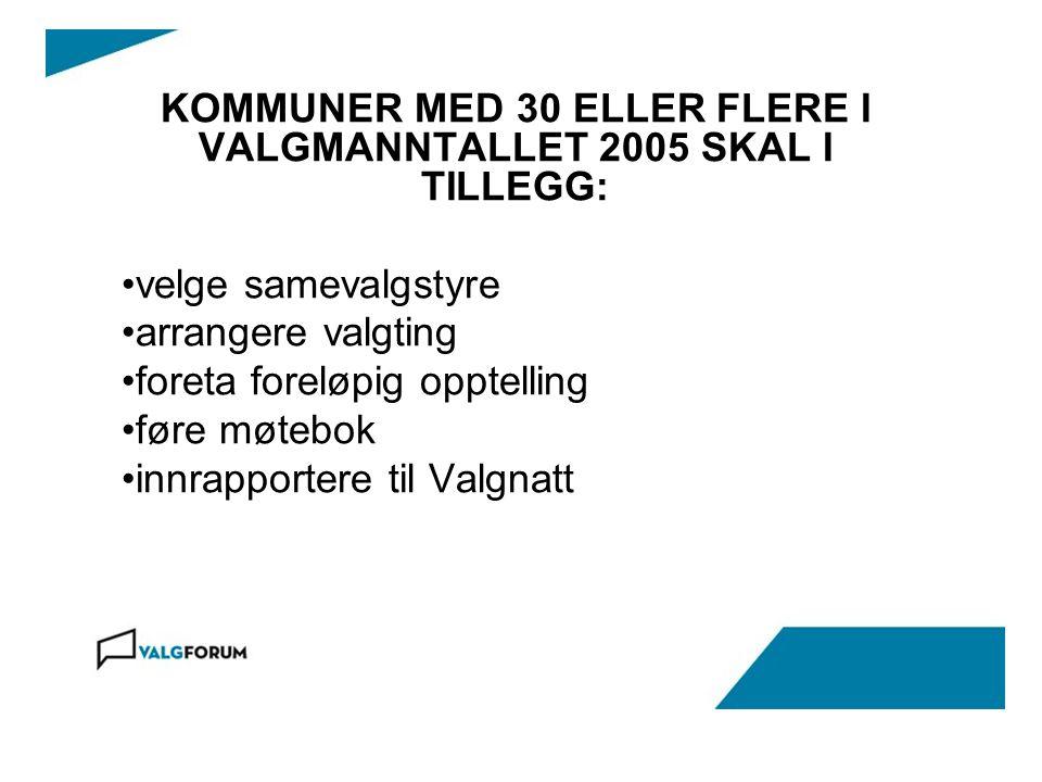 KOMMUNER MED 30 ELLER FLERE I VALGMANNTALLET 2005 SKAL I TILLEGG: velge samevalgstyre arrangere valgting foreta foreløpig opptelling føre møtebok innrapportere til Valgnatt