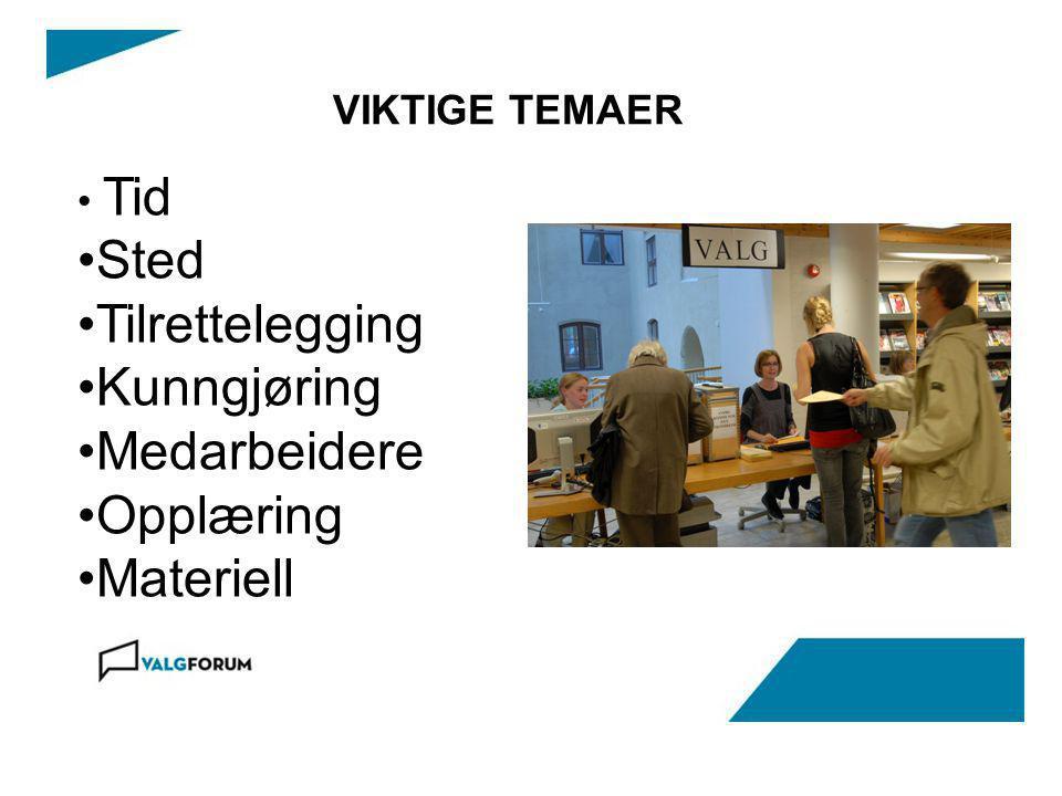 VIKTIGE TEMAER Tid Sted Tilrettelegging Kunngjøring Medarbeidere Opplæring Materiell