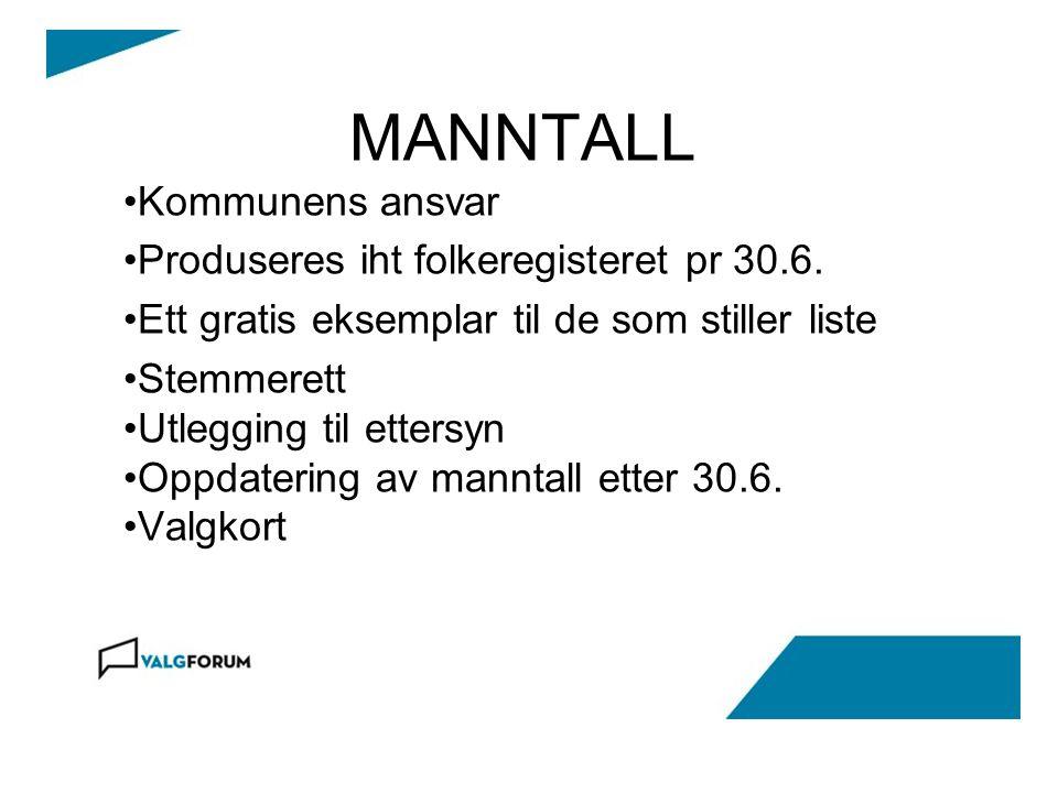 MANNTALL Kommunens ansvar Produseres iht folkeregisteret pr 30.6. Ett gratis eksemplar til de som stiller liste Stemmerett Utlegging til ettersyn Oppd