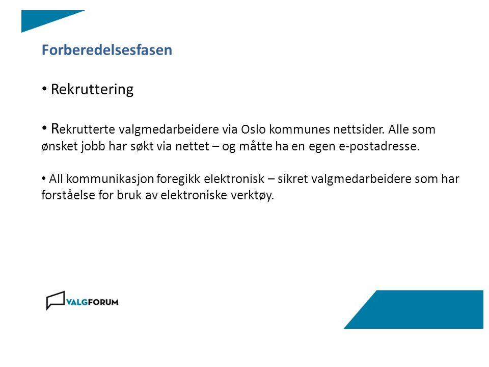 Forberedelsesfasen Rekruttering R ekrutterte valgmedarbeidere via Oslo kommunes nettsider.