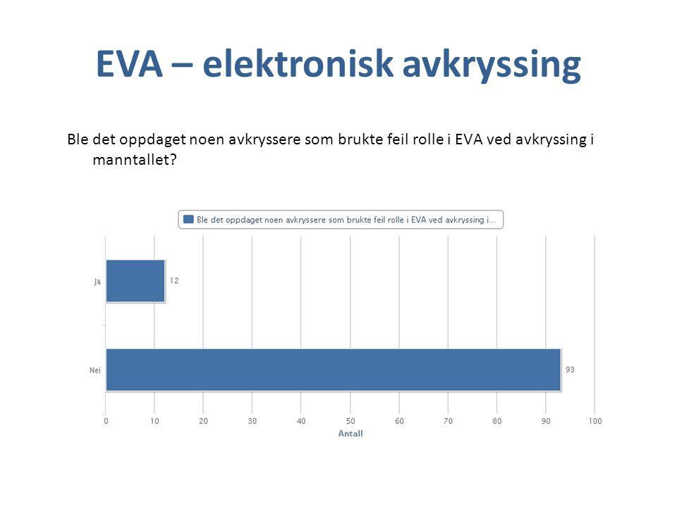 EVA – elektronisk avkryssing Ble det oppdaget noen avkryssere som brukte feil rolle i EVA ved avkryssing i manntallet