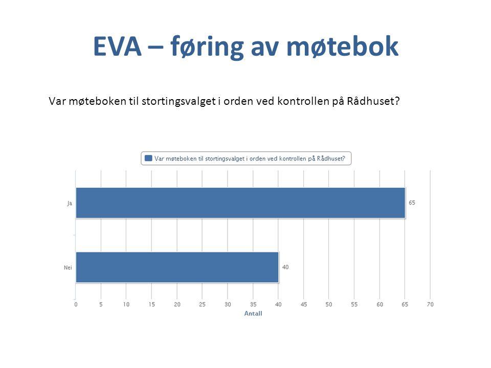 EVA – føring av møtebok Var møteboken til stortingsvalget i orden ved kontrollen på Rådhuset
