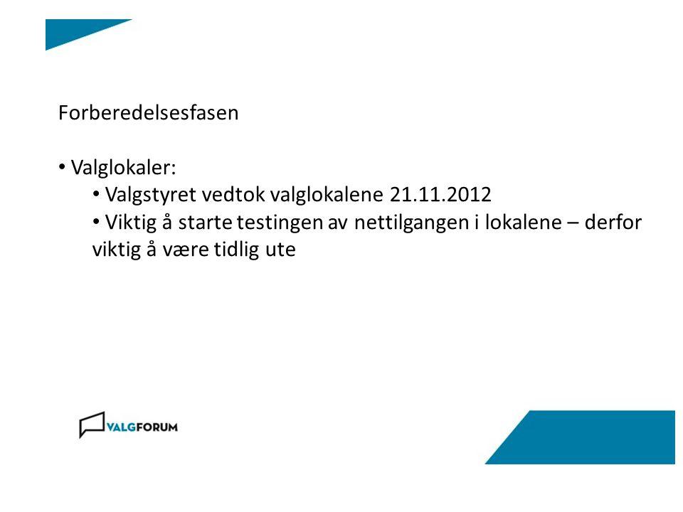 Forberedelsesfasen Valglokaler: Valgstyret vedtok valglokalene 21.11.2012 Viktig å starte testingen av nettilgangen i lokalene – derfor viktig å være tidlig ute