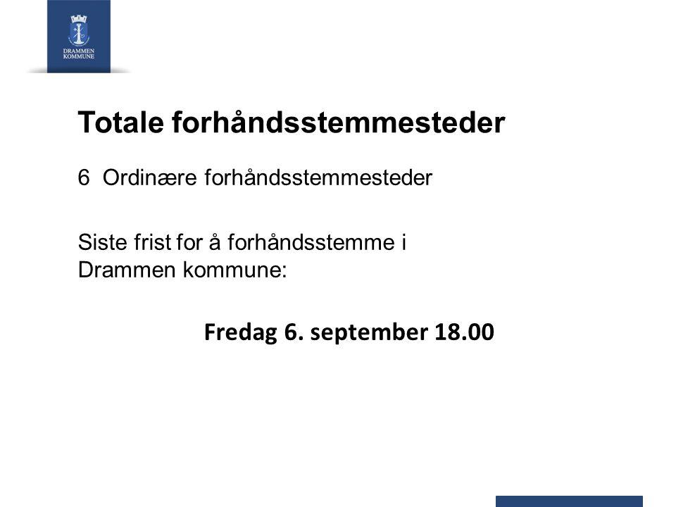 Totale forhåndsstemmesteder 6 Ordinære forhåndsstemmesteder Siste frist for å forhåndsstemme i Drammen kommune: Fredag 6.