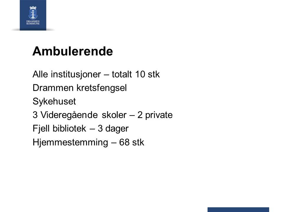 Ambulerende Alle institusjoner – totalt 10 stk Drammen kretsfengsel Sykehuset 3 Videregående skoler – 2 private Fjell bibliotek – 3 dager Hjemmestemming – 68 stk