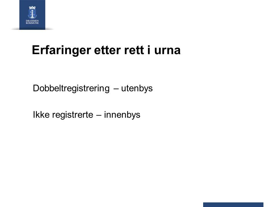 Erfaringer etter rett i urna Dobbeltregistrering – utenbys Ikke registrerte – innenbys