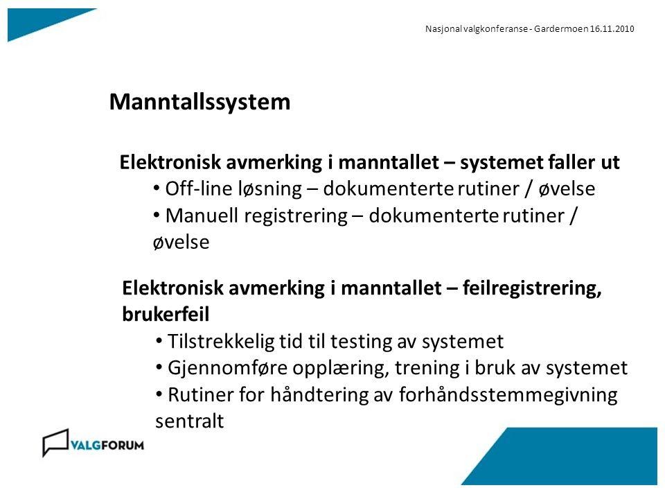 Nasjonal valgkonferanse - Gardermoen 16.11.2010 Manntallssystem Elektronisk avmerking i manntallet – systemet faller ut Off-line løsning – dokumentert