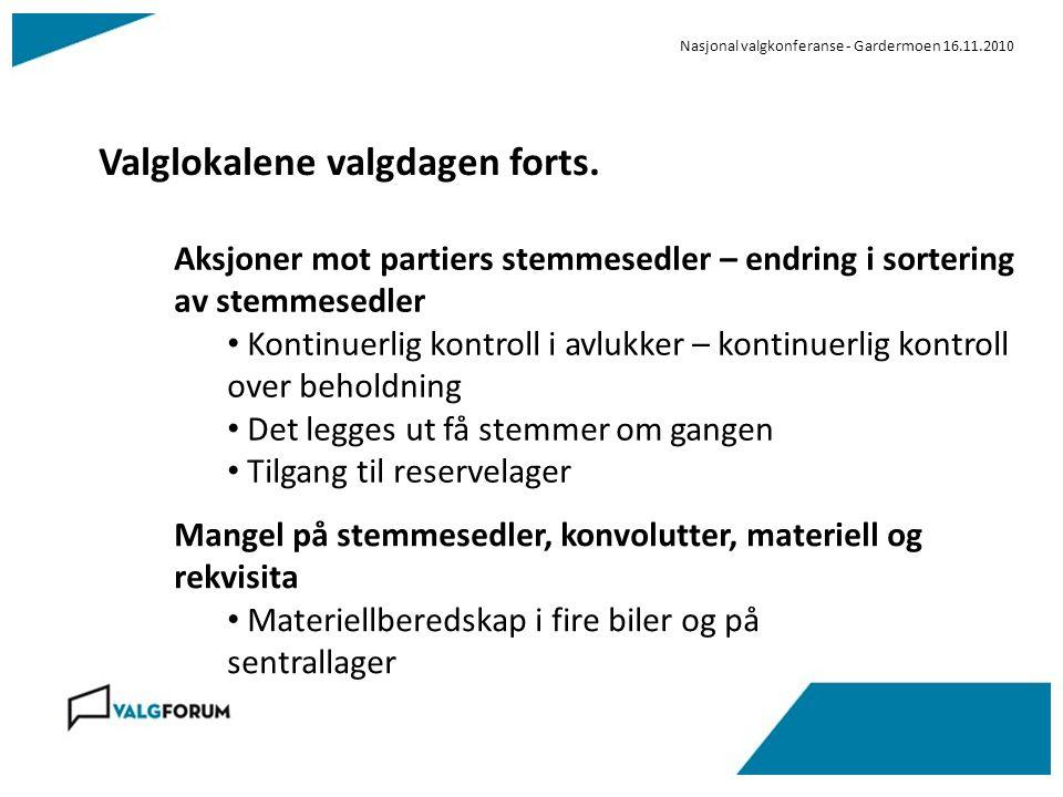 Nasjonal valgkonferanse - Gardermoen 16.11.2010 Valglokalene valgdagen forts. Aksjoner mot partiers stemmesedler – endring i sortering av stemmesedler
