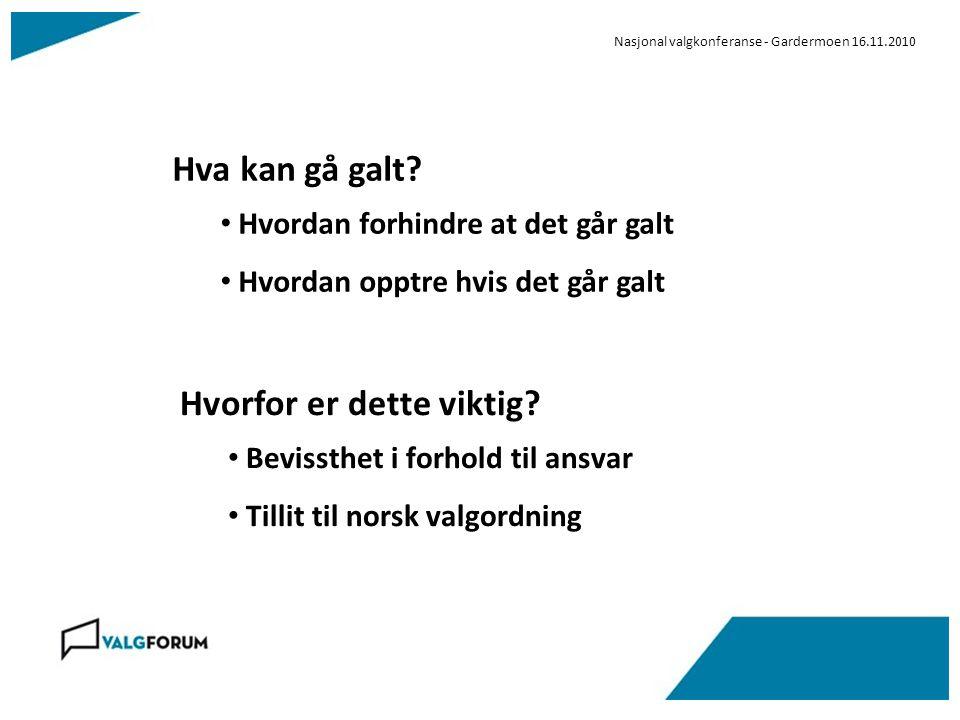 Nasjonal valgkonferanse - Gardermoen 16.11.2010 Hva kan gå galt.
