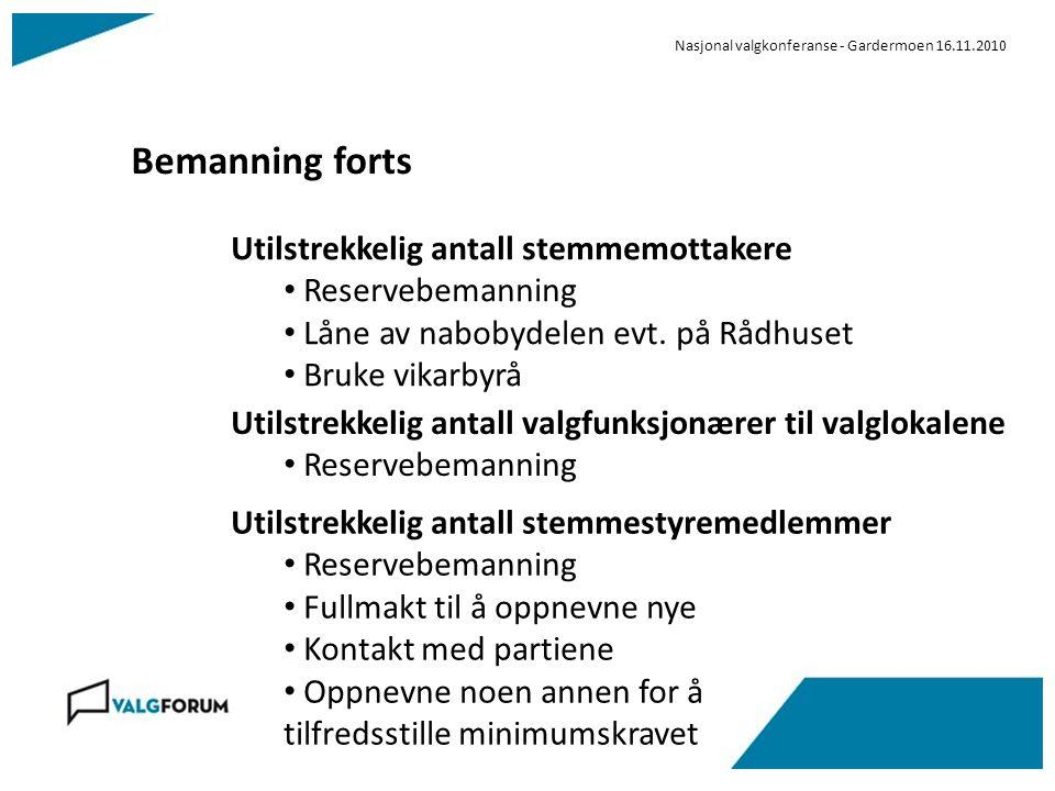Nasjonal valgkonferanse - Gardermoen 16.11.2010 Bemanning forts Utilstrekkelig antall stemmemottakere Reservebemanning Låne av nabobydelen evt. på Råd