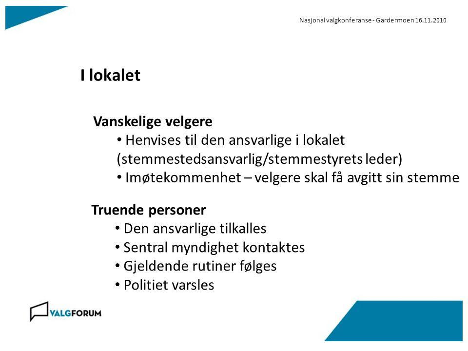 Nasjonal valgkonferanse - Gardermoen 16.11.2010 Vanskelige velgere Henvises til den ansvarlige i lokalet (stemmestedsansvarlig/stemmestyrets leder) Im