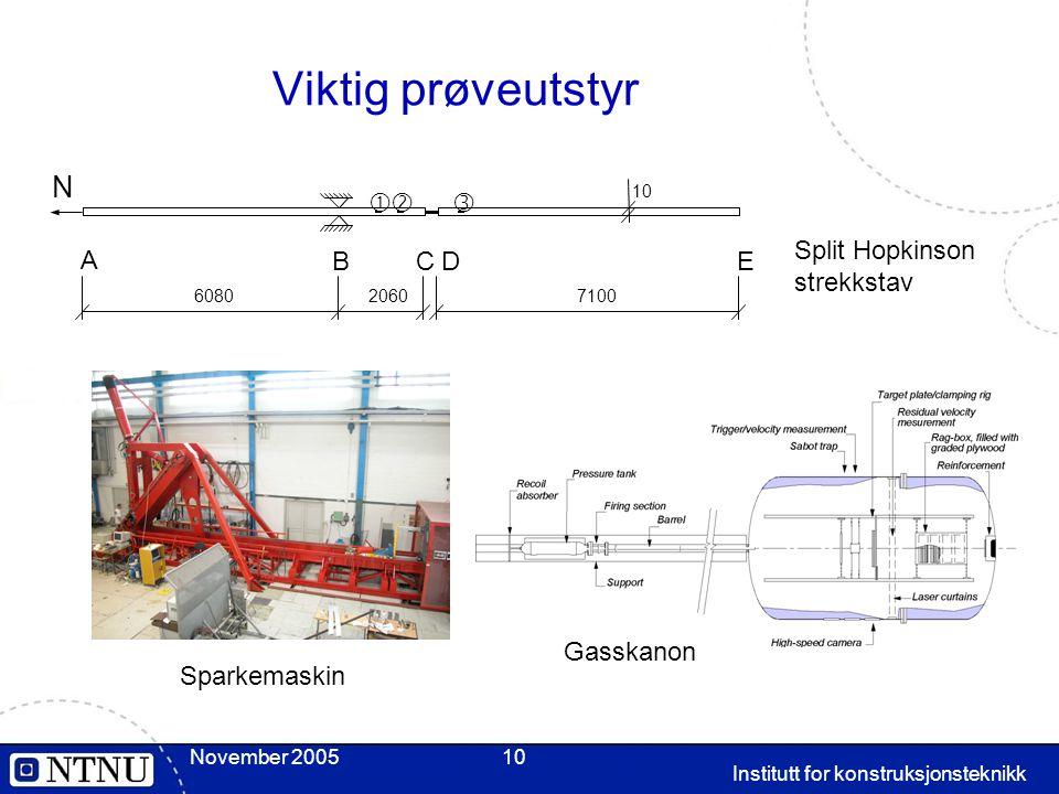 November 2005 Institutt for konstruksjonsteknikk 10 Viktig prøveutstyr 20607100 A BCDE  10 N  6080 Split Hopkinson strekkstav Gasskanon Sparkemaski