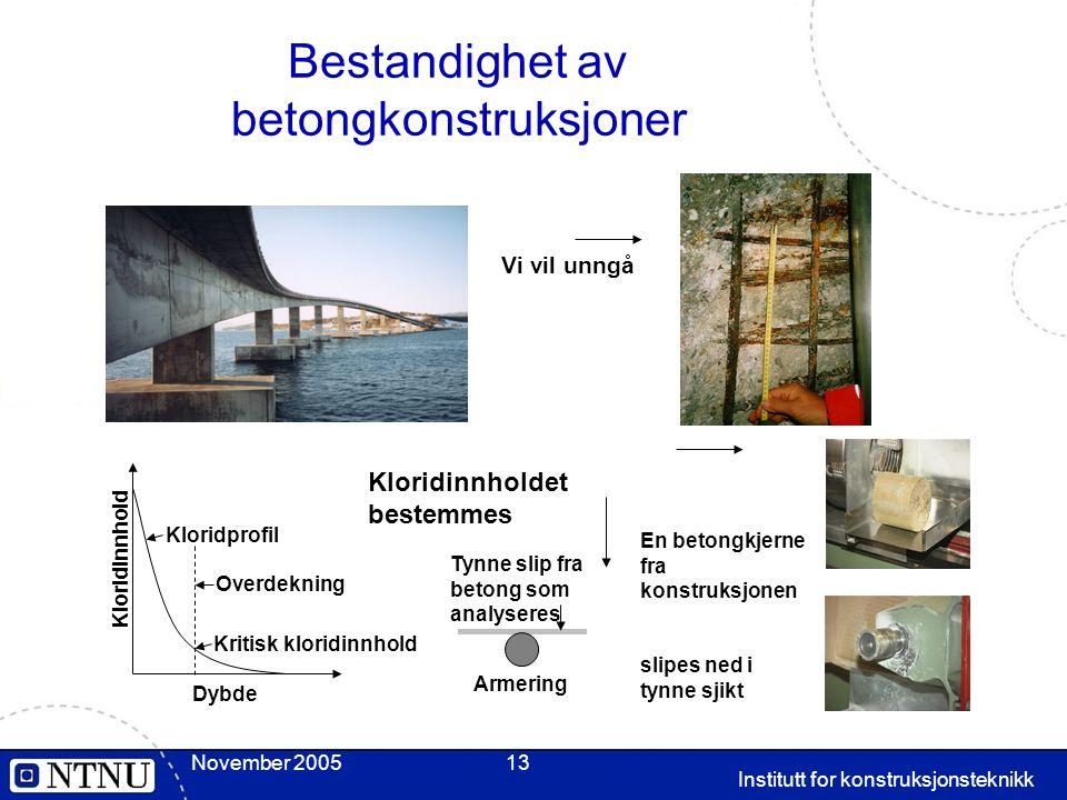November 2005 Institutt for konstruksjonsteknikk 13 Bestandighet av betongkonstruksjoner Vi vil unngå En betongkjerne fra konstruksjonen slipes ned i