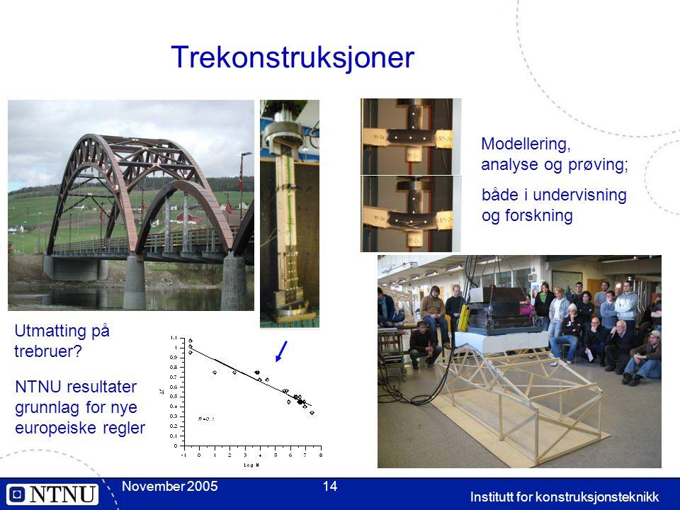 November 2005 Institutt for konstruksjonsteknikk 14 Trekonstruksjoner Utmatting på trebruer? NTNU resultater grunnlag for nye europeiske regler Modell
