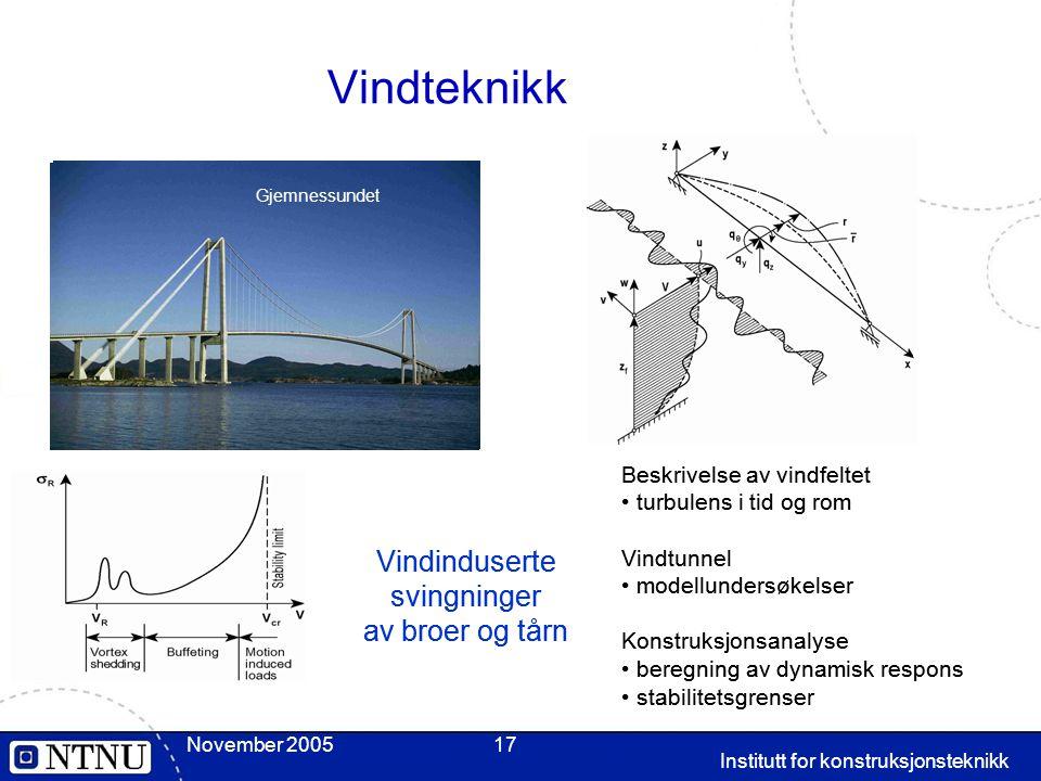 November 2005 Institutt for konstruksjonsteknikk 17 Vindteknikk Gjemnessundet Beskrivelse av vindfeltet turbulens i tid og rom Vindtunnel modellunders