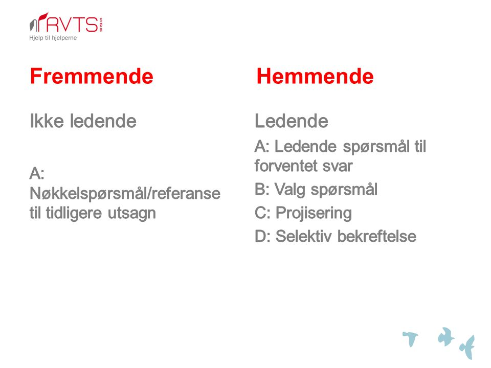 Fremmende Hemmende Ledende A: Ledende spørsmål til forventet svar B: Valg spørsmål C: Projisering D: Selektiv bekreftelse