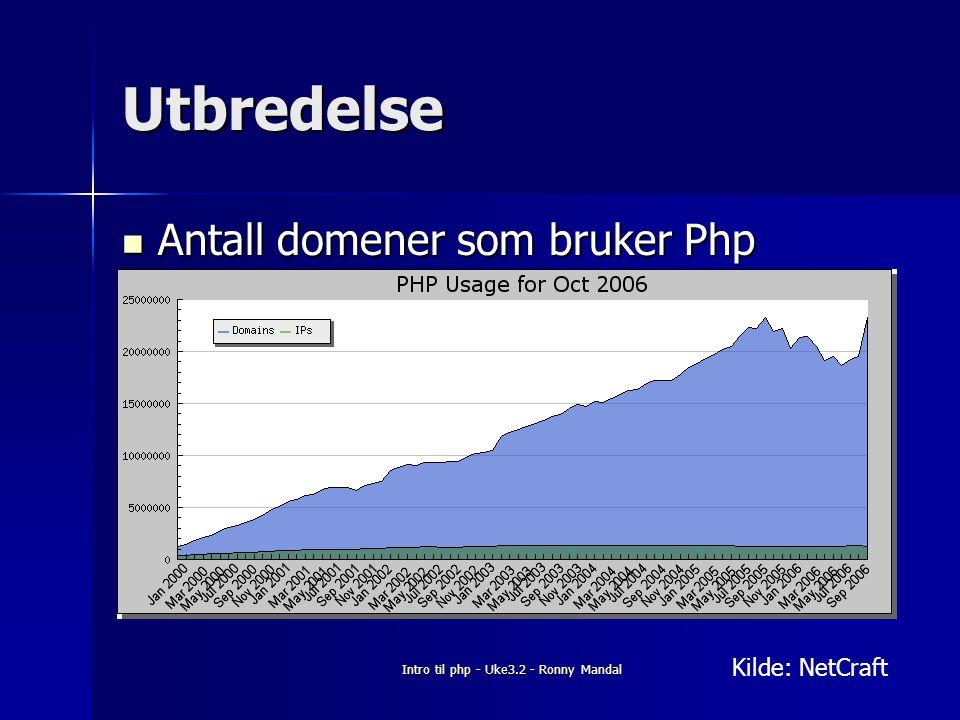 Intro til php - Uke3.2 - Ronny Mandal Utbredelse Antall domener som bruker Php Antall domener som bruker Php Kilde: NetCraft