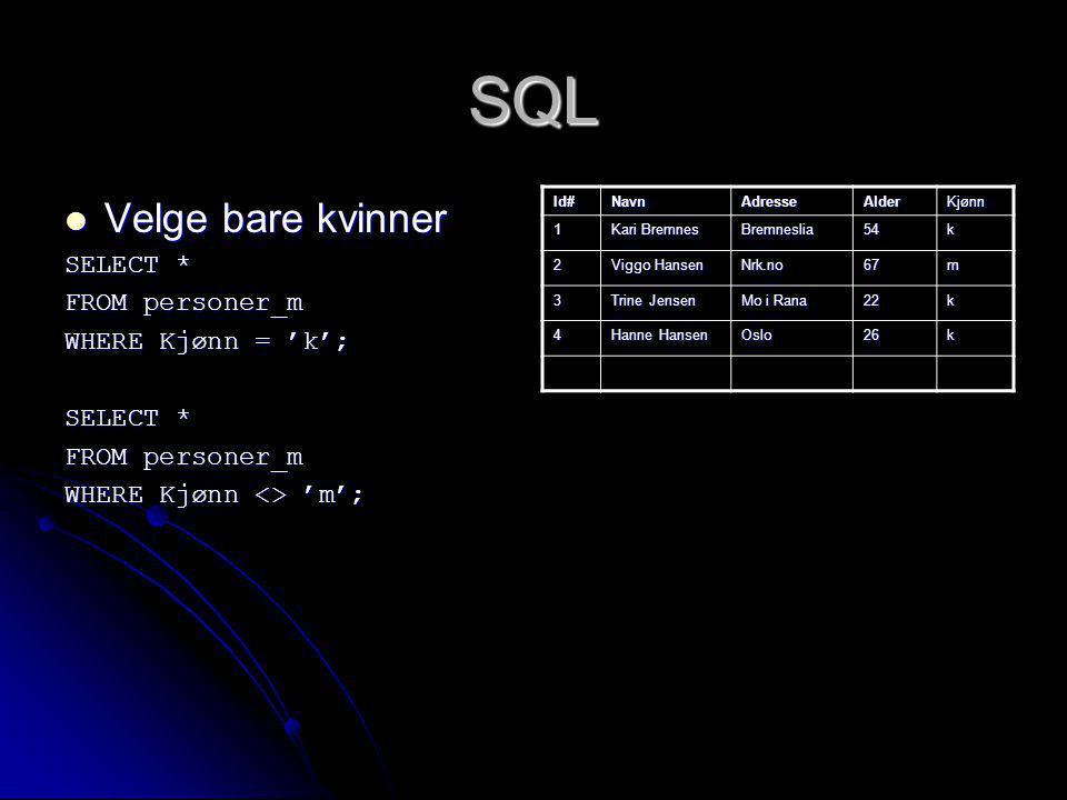 SQL Velge bare kvinner Velge bare kvinner SELECT * FROM personer_m WHERE Kjønn = 'k'; SELECT * FROM personer_m WHERE Kjønn <> 'm'; Id#NavnAdresseAlder