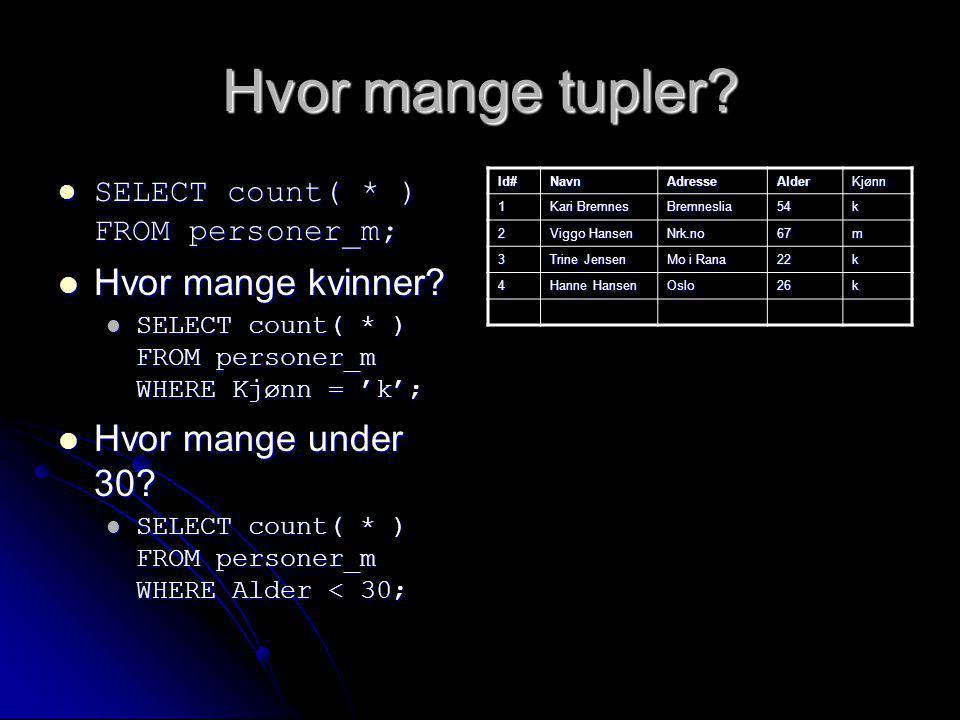 Hvor mange tupler? SELECT count( * ) FROM personer_m; SELECT count( * ) FROM personer_m; Hvor mange kvinner? Hvor mange kvinner? SELECT count( * ) FRO