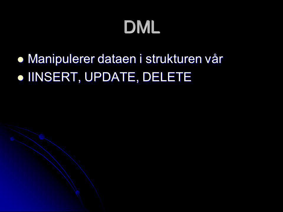 DQL Spør etter dataen vi vil ha fra DM Spør etter dataen vi vil ha fra DM SELECT FROM WHERE SELECT FROM WHERE