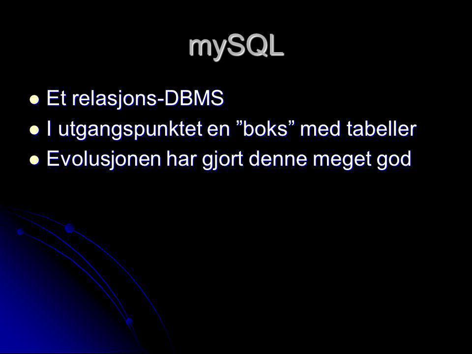 """mySQL Et relasjons-DBMS Et relasjons-DBMS I utgangspunktet en """"boks"""" med tabeller I utgangspunktet en """"boks"""" med tabeller Evolusjonen har gjort denne"""