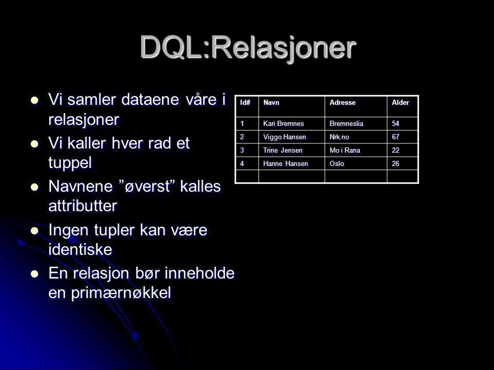 DQL:Relasjoner Vi samler dataene våre i relasjoner Vi samler dataene våre i relasjoner Vi kaller hver rad et tuppel Vi kaller hver rad et tuppel Navne