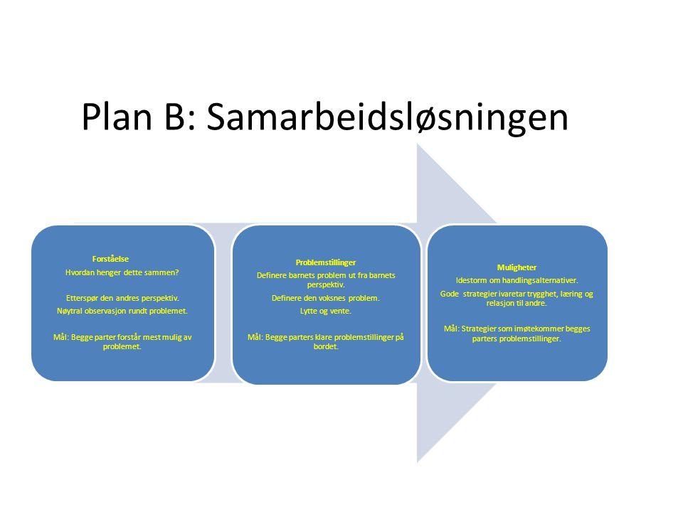 Plan B: Samarbeidsløsningen Forståelse Hvordan henger dette sammen? Etterspør den andres perspektiv. Nøytral observasjon rundt problemet. Mål: Begge p