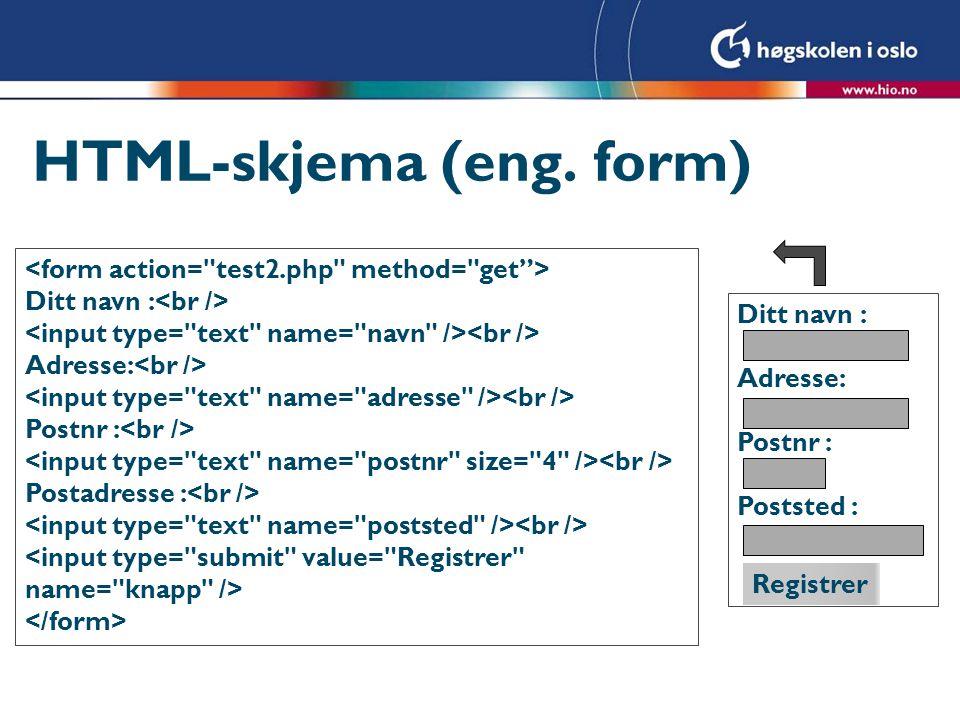 HTML-skjema (eng. form) Ditt navn : Adresse: Postnr : Postadresse : Ditt navn : Adresse: Postnr : Poststed : Registrer