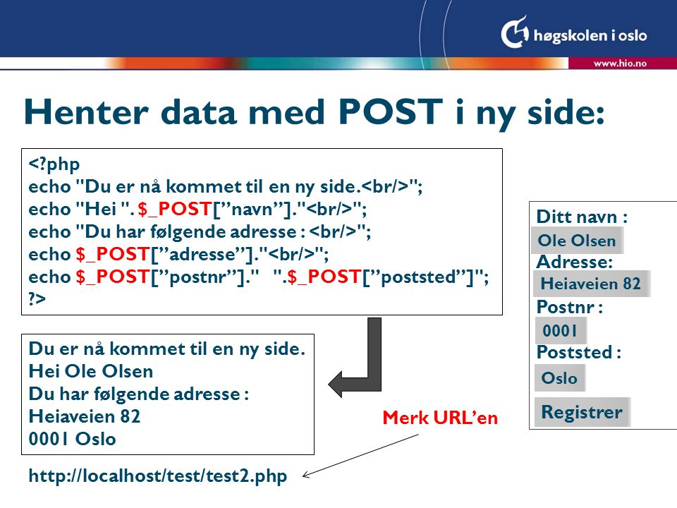 Alternativt med REQUEST <?php echo Du er nå kommet til ny side.