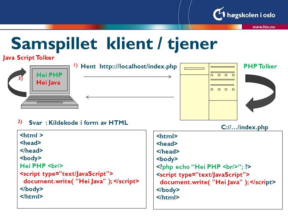 Samspillet klient / tjener Hent http:://localhost/index.php C://…/index.php Svar : Kildekode i form av HTML 1) 2) PHP Tolker ; ?> document.write( Hei Java ); Hei PHP document.write( Hei Java ); 3) Hei PHP Hei Java Java Script Tolker
