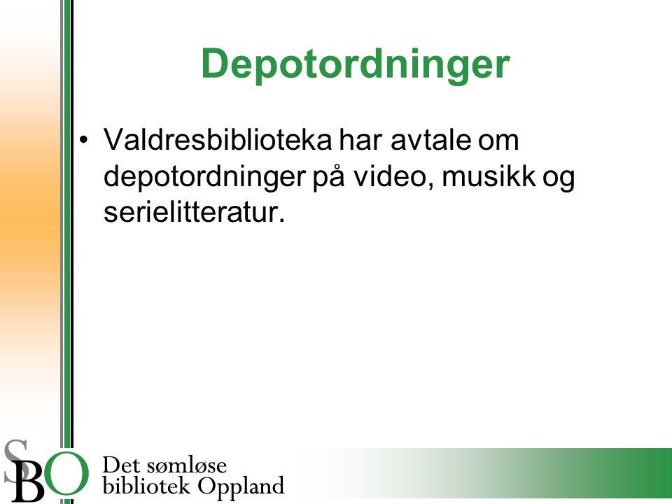 Depotordninger Valdresbiblioteka har avtale om depotordninger på video, musikk og serielitteratur.