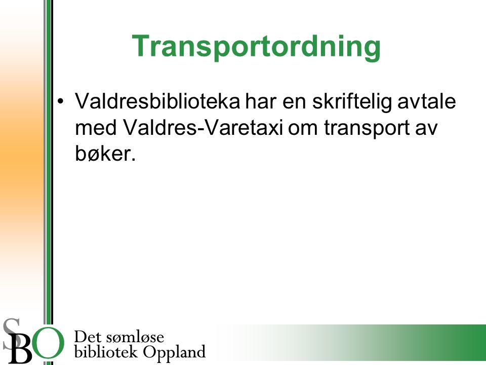 Transportordning Valdresbiblioteka har en skriftelig avtale med Valdres-Varetaxi om transport av bøker.