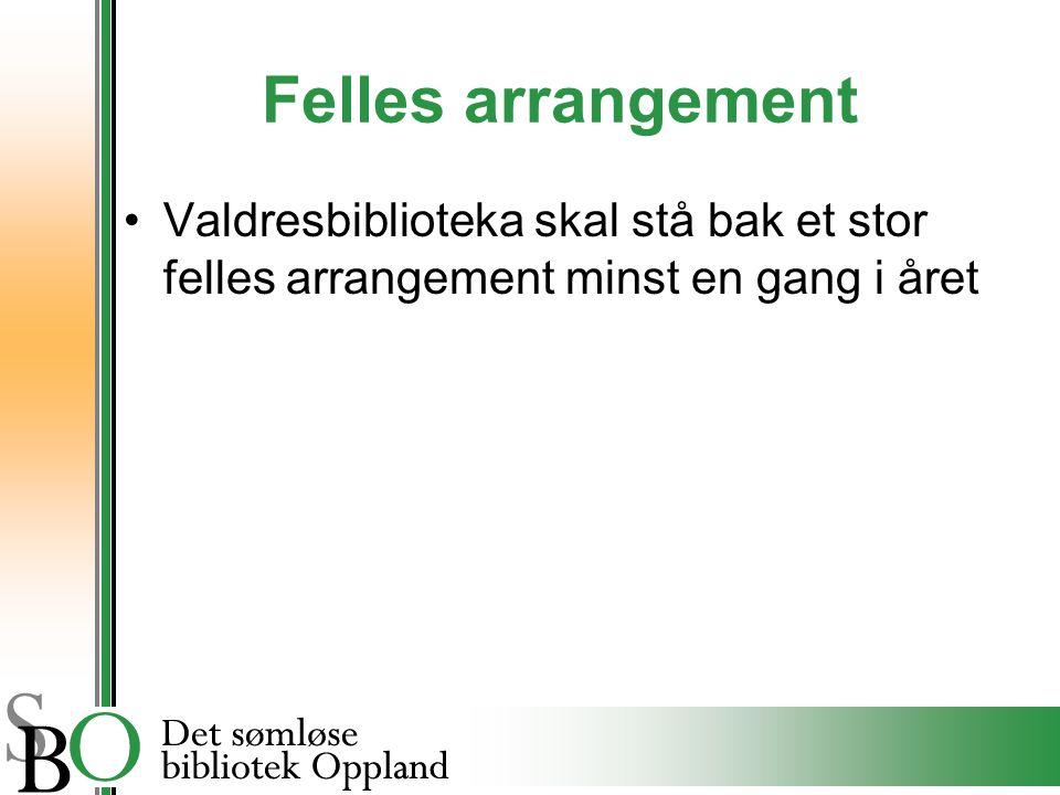 Felles arrangement Valdresbiblioteka skal stå bak et stor felles arrangement minst en gang i året