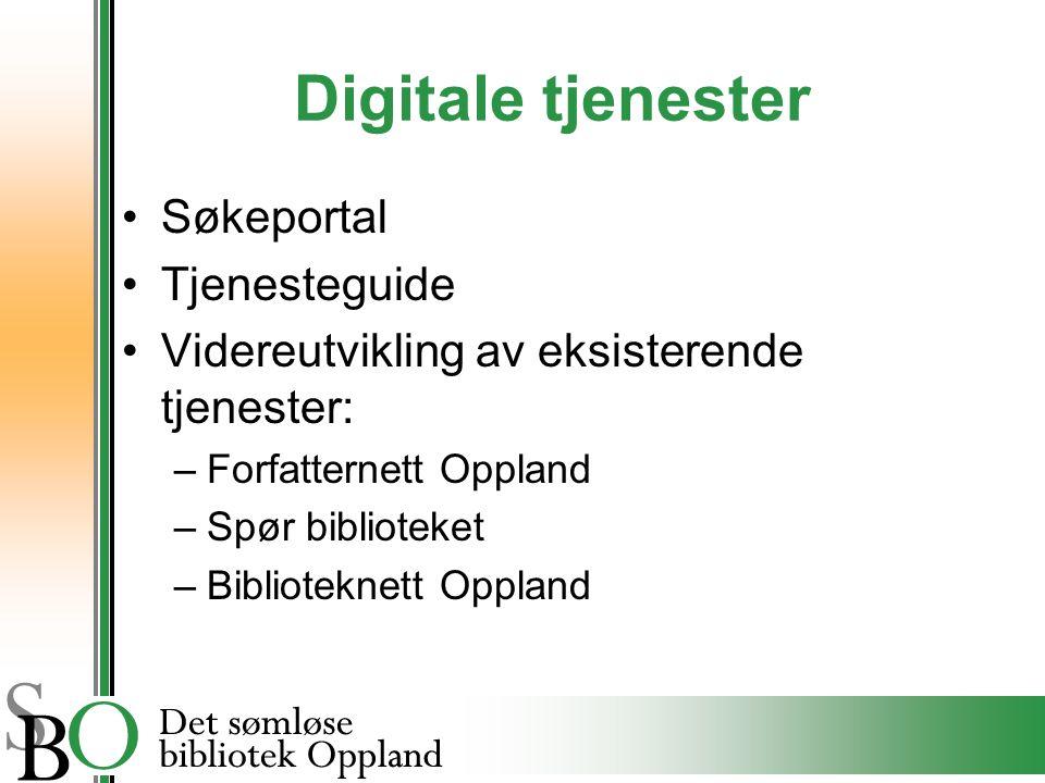 Digitale tjenester Søkeportal Tjenesteguide Videreutvikling av eksisterende tjenester: –Forfatternett Oppland –Spør biblioteket –Biblioteknett Oppland