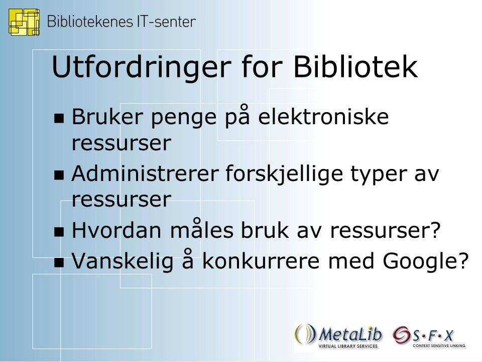 Utfordringer for Bibliotek Bruker penge på elektroniske ressurser Administrerer forskjellige typer av ressurser Hvordan måles bruk av ressurser.