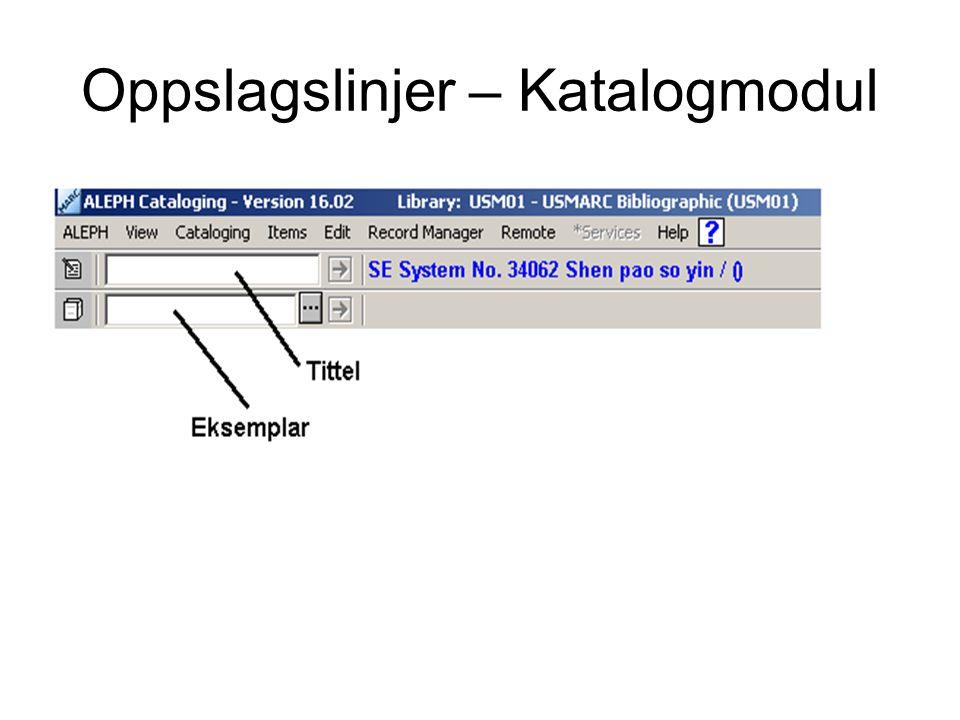 Oppslagslinjer – Katalogmodul