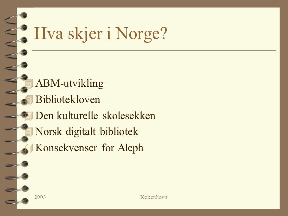 2003København ABM-utvikling 4 Statens senter for arkiv, bibliotek og museum 4 Opprettet 1.januar 2003 (Statens bibliotektilsyn og Riksbibliotektjenesten nedlagt).