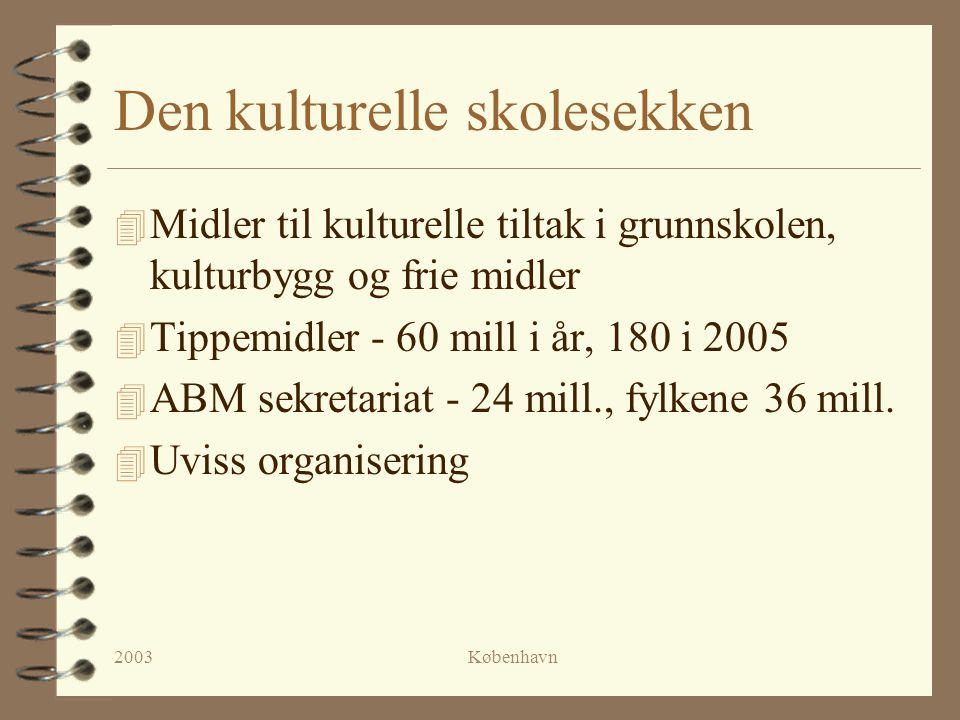 2003København Den kulturelle skolesekken 4 Midler til kulturelle tiltak i grunnskolen, kulturbygg og frie midler 4 Tippemidler - 60 mill i år, 180 i 2005 4 ABM sekretariat - 24 mill., fylkene 36 mill.