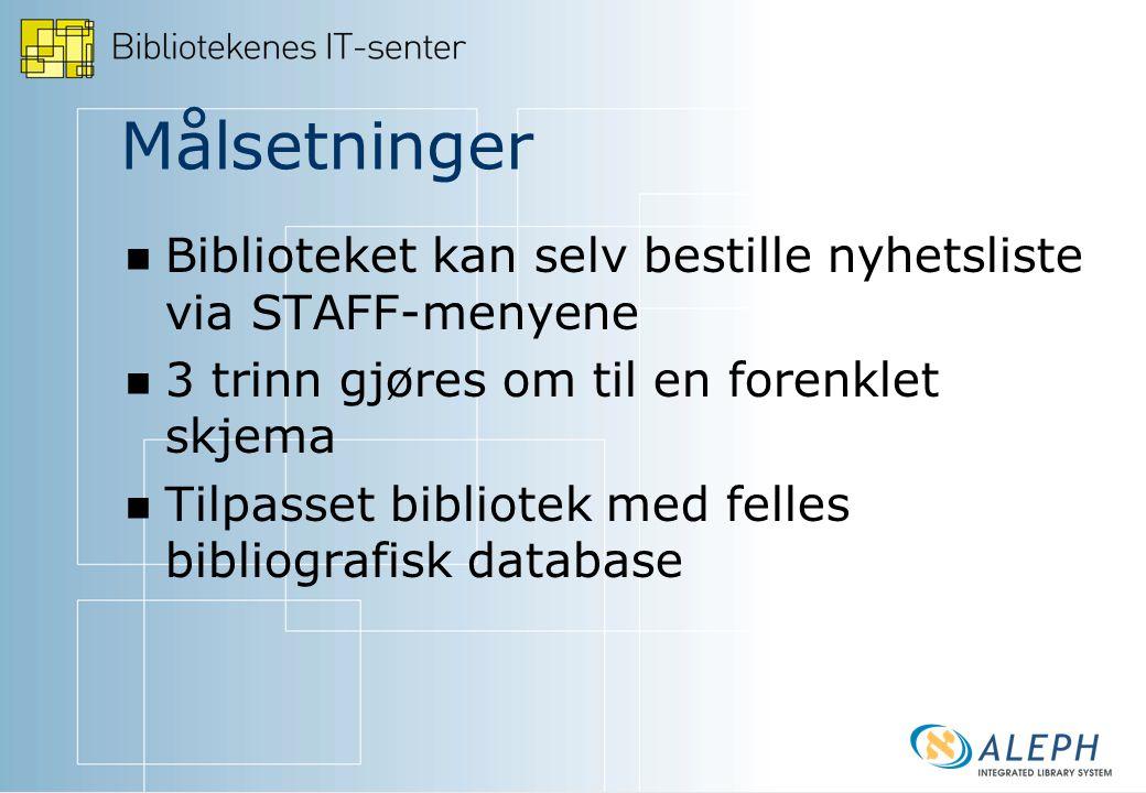 Felles bibligrafisk database For eksempel Nordland VGS, Hallingdal, Vest-Telemark.