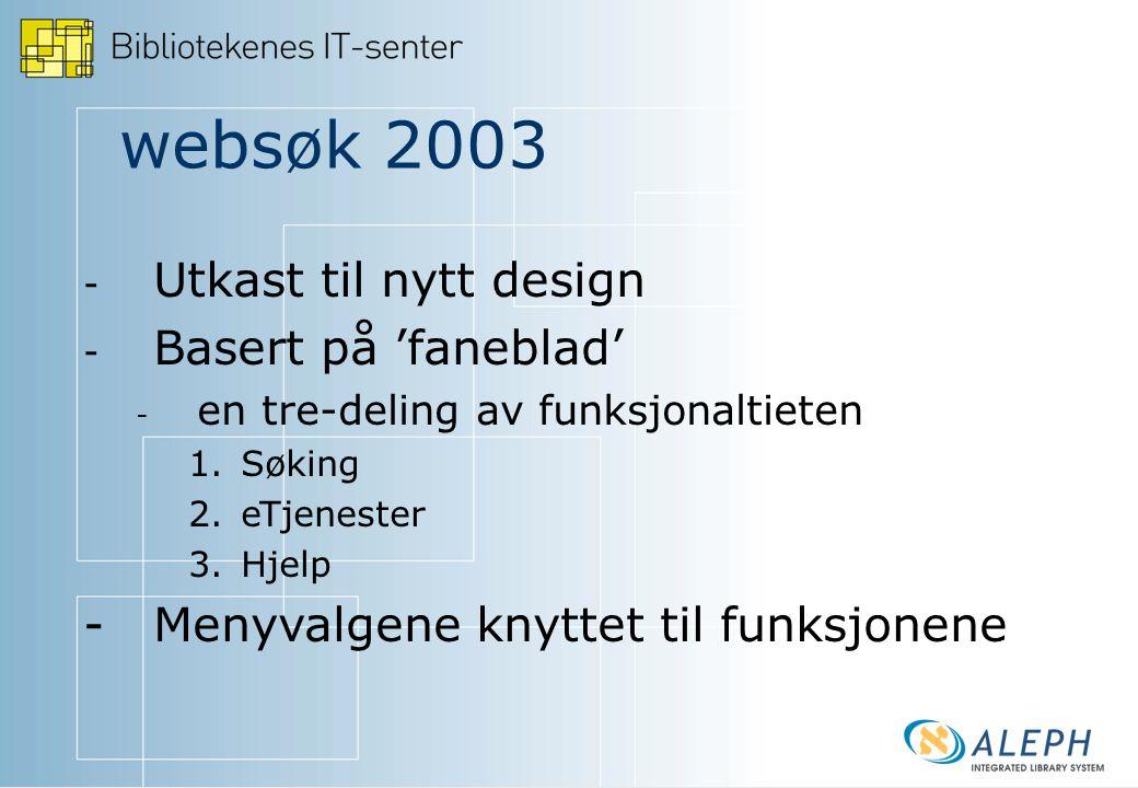 websøk 2003 - - Utkast til nytt design - - Basert på 'faneblad' - - en tre-deling av funksjonaltieten 1.