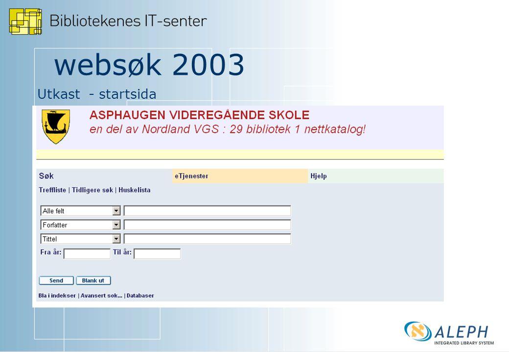 websøk 2003 Utkast - startsida