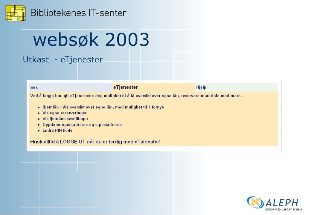websøk 2003 Utkast - eTjenester