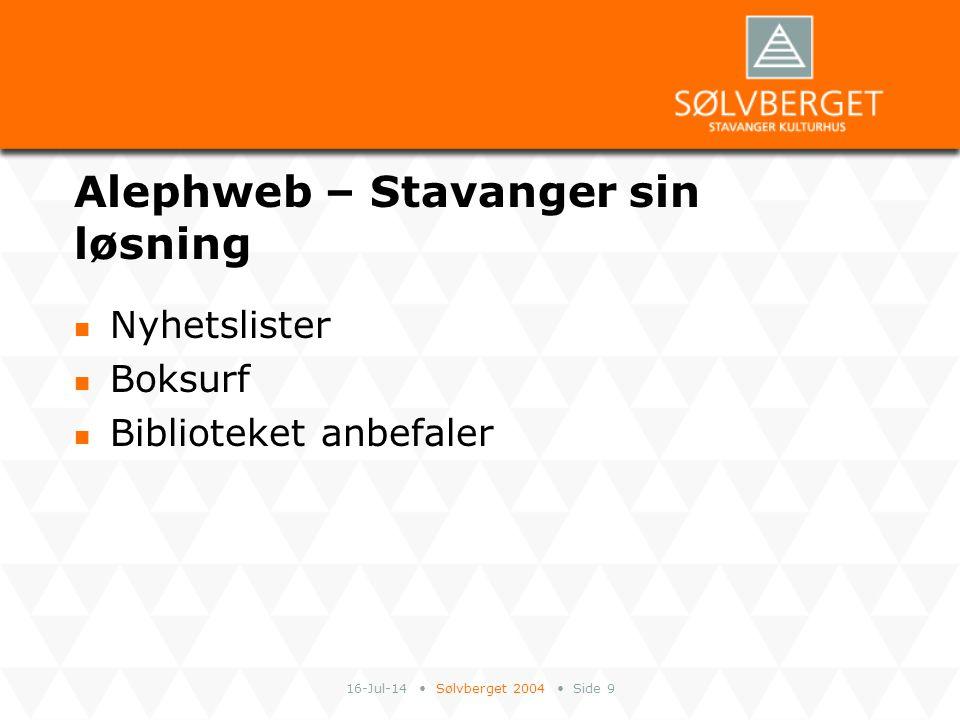 16-Jul-14 Sølvberget 2004 Side 10 Integrasjon Alephweb/ Sølvbergets hjemmesider Megafon Nyhetslister Bok- og filmtips m.m.