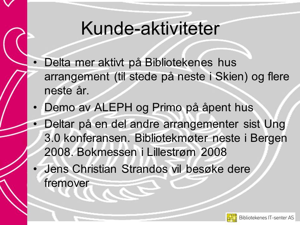 Kunde-aktiviteter Delta mer aktivt på Bibliotekenes hus arrangement (til stede på neste i Skien) og flere neste år.