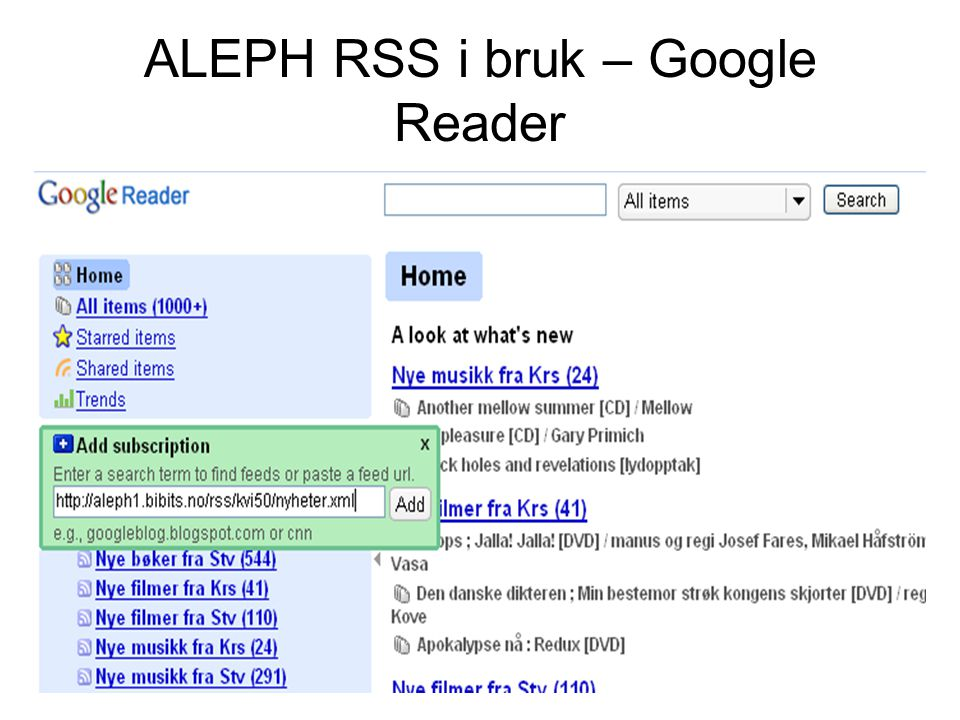 ALEPH RSS i bruk – Google Reader