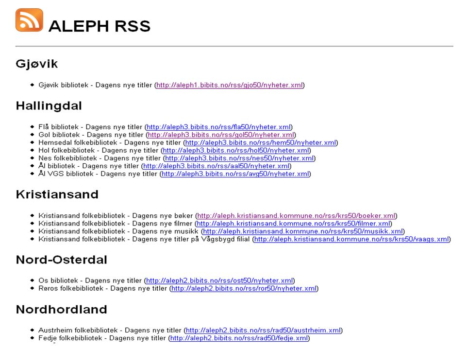 Hva kommer med i RSS-en.Titler som har eksemplarer som har blitt opprettet i løpet av dagen.