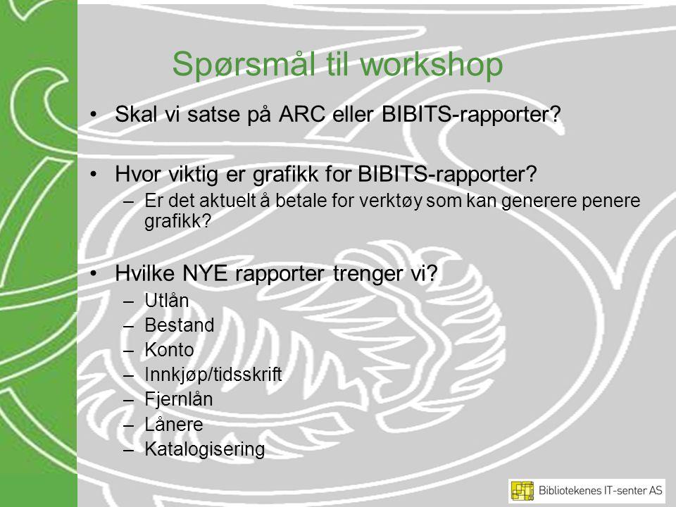 Spørsmål til workshop Skal vi satse på ARC eller BIBITS-rapporter? Hvor viktig er grafikk for BIBITS-rapporter? –Er det aktuelt å betale for verktøy s