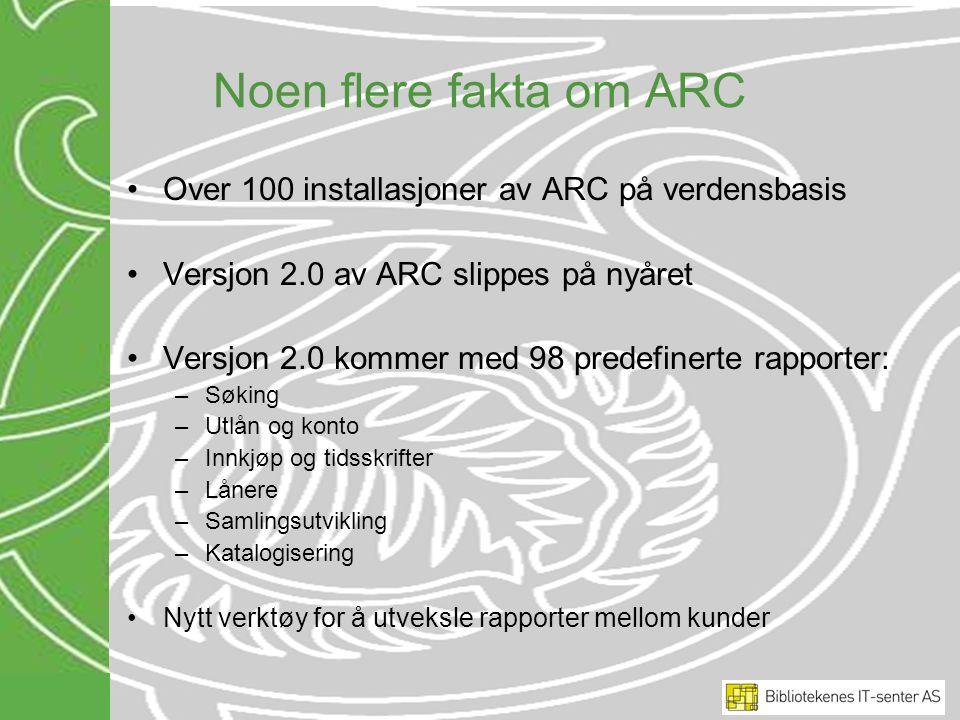 Noen flere fakta om ARC Over 100 installasjoner av ARC på verdensbasis Versjon 2.0 av ARC slippes på nyåret Versjon 2.0 kommer med 98 predefinerte rap