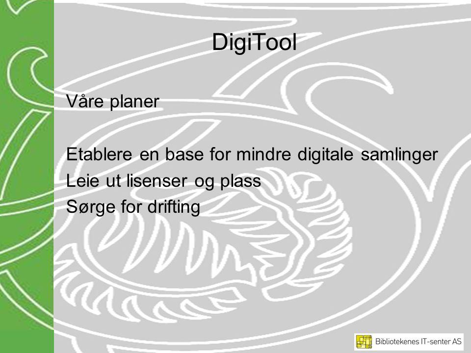 DigiTool Våre planer Etablere en base for mindre digitale samlinger Leie ut lisenser og plass Sørge for drifting