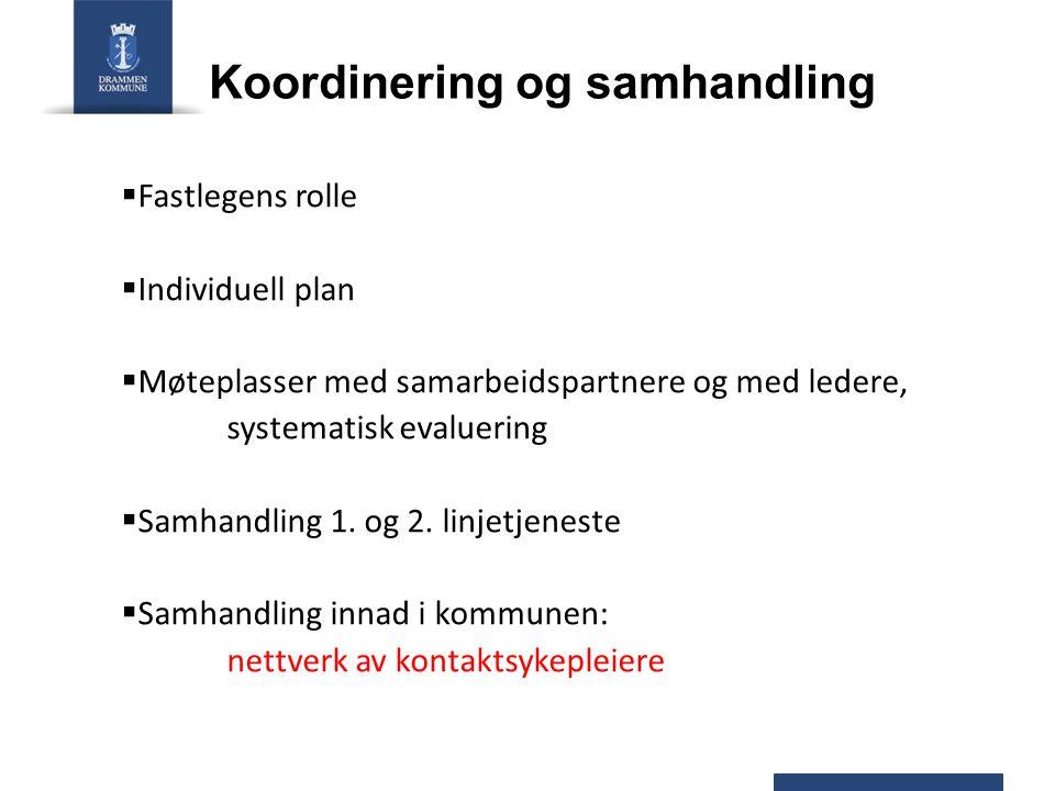 Koordinering og samhandling  Fastlegens rolle  Individuell plan  Møteplasser med samarbeidspartnere og med ledere, systematisk evaluering  Samhand